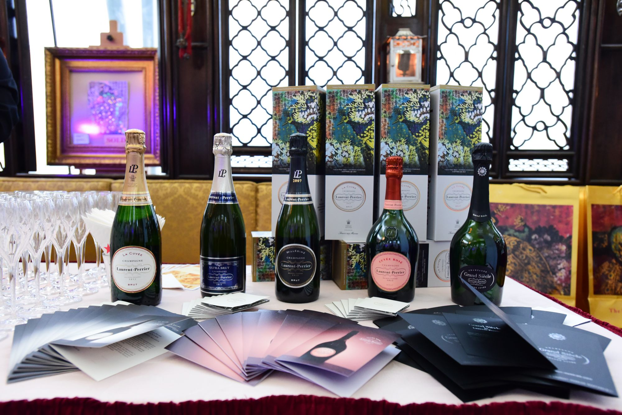 An array of Laurent-Perrier champagne