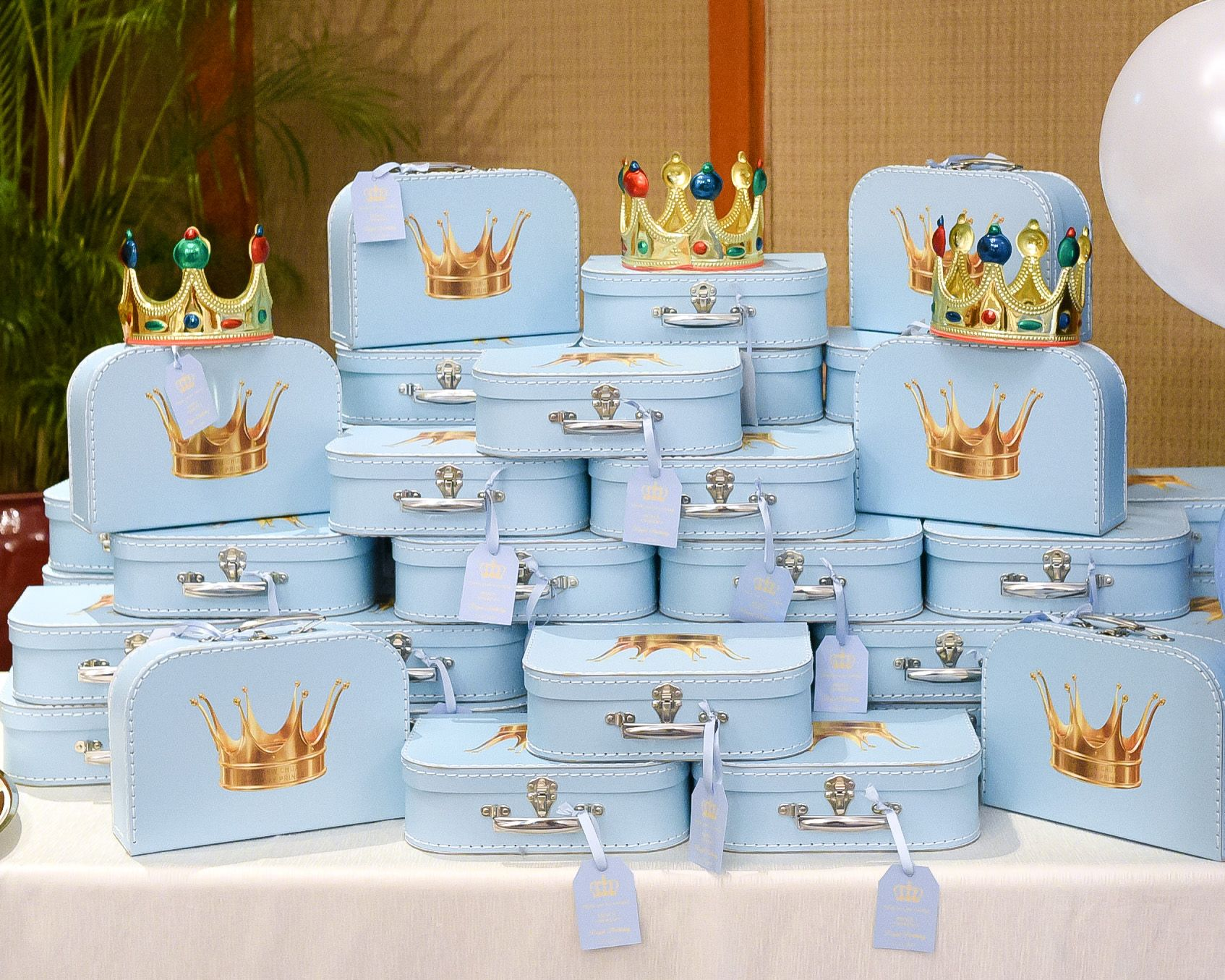 Little blue luggage were given out as door gifts