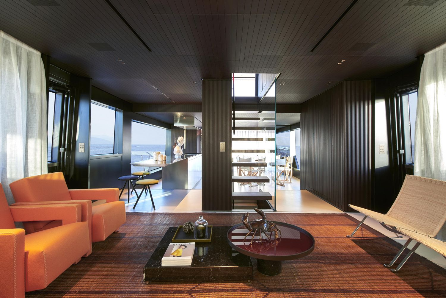 The living area of the Sanlorenzo SX88 yacht designed by Piero Lissoni