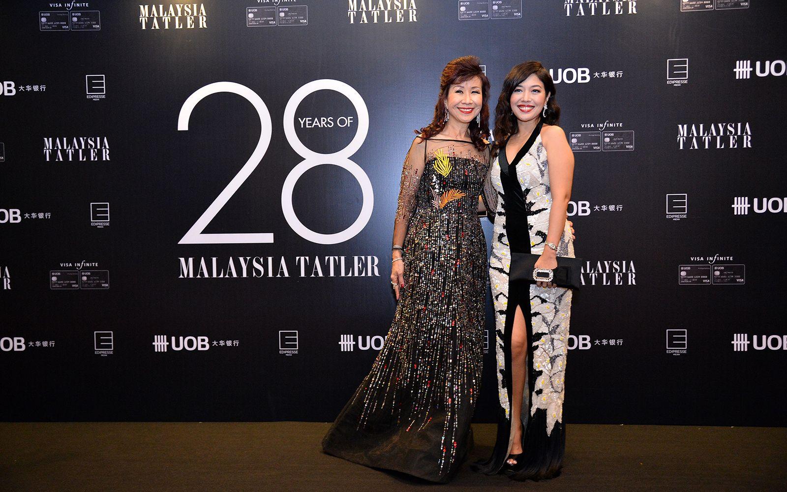 Florence Fang in Bernard Chandran and Shirena Hamzah in Farah Khan Couture
