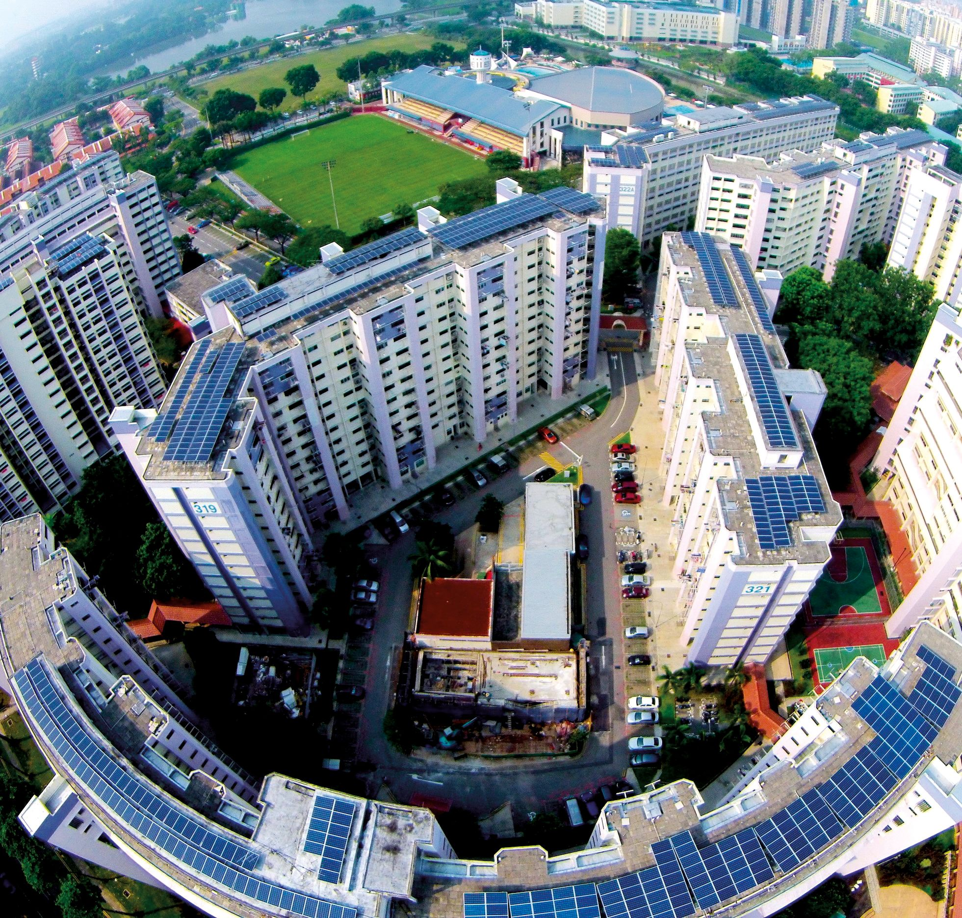 Sustainable Towns: The Housing & Development Board awarded Sunseap the contract to install solar photovoltaic (PV) systems in 680 HDB residential blocks in four towns: Jurong East (pictured), Marine Parade, Sembawang and Tampines