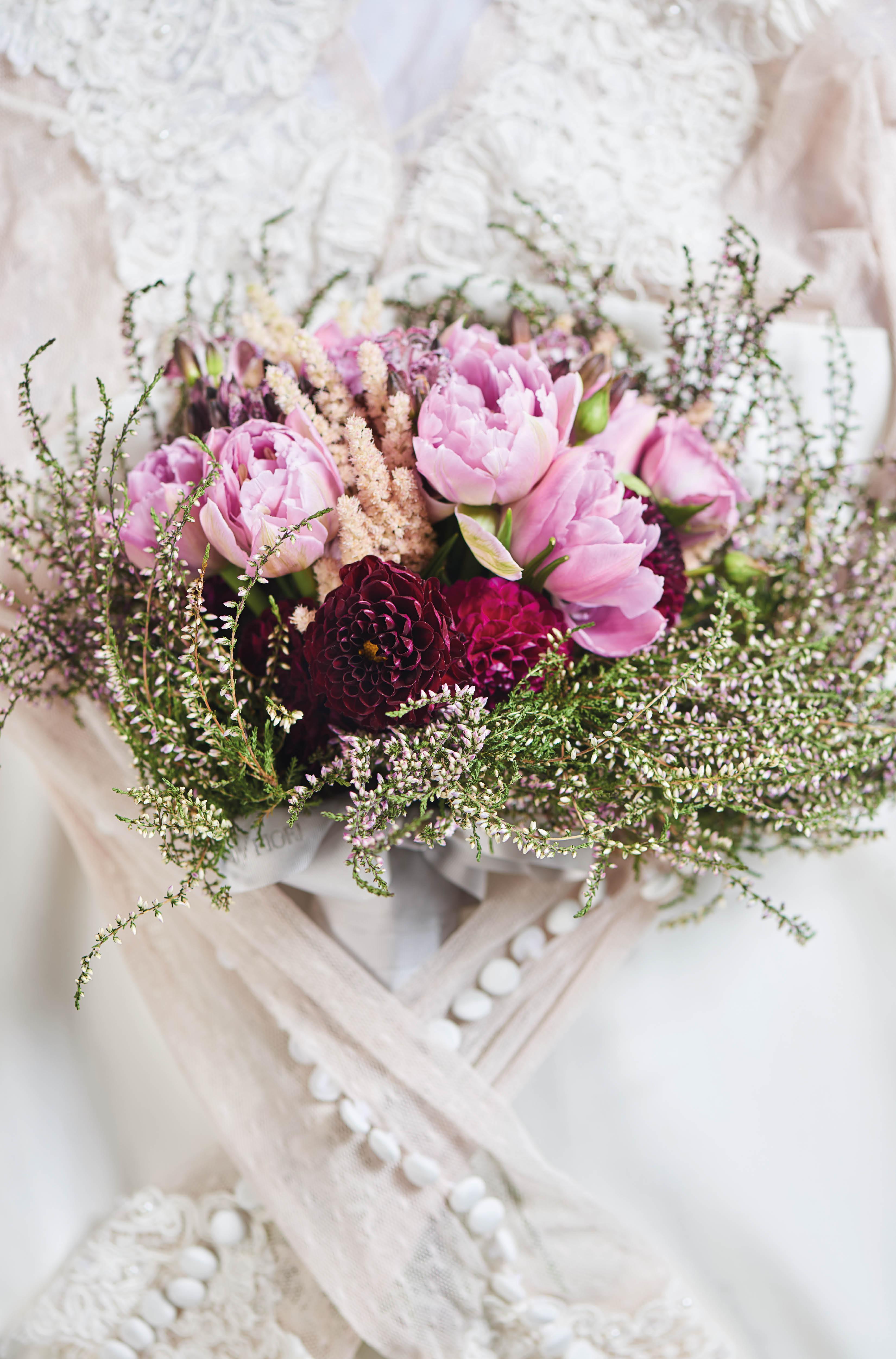 Bouquet of Dutch  tulips and dahlias  by Armani/Fiori;  dress by Rania Hatoum