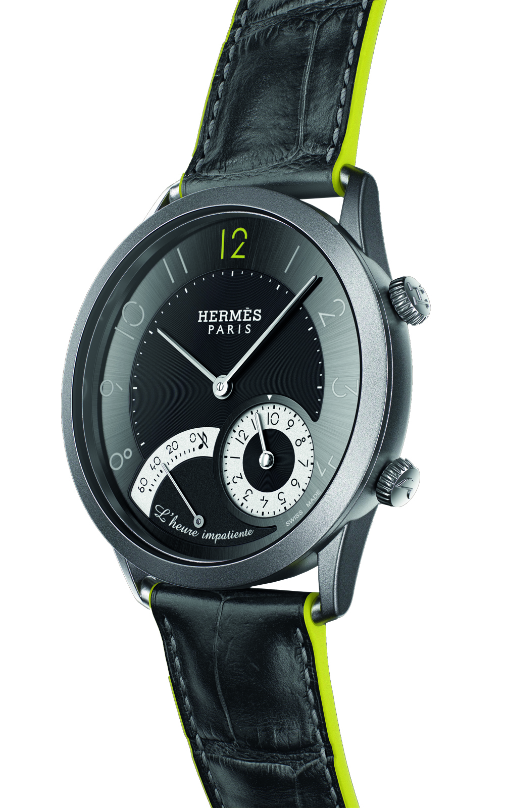 A playful mechanism in this timepiece marks an event within a 12-hour period and provides a visual countdown from 60 minutes, alerting the wearer with the sweet chimes of an internal alarm. (Photo: Courtesy of Hermes)