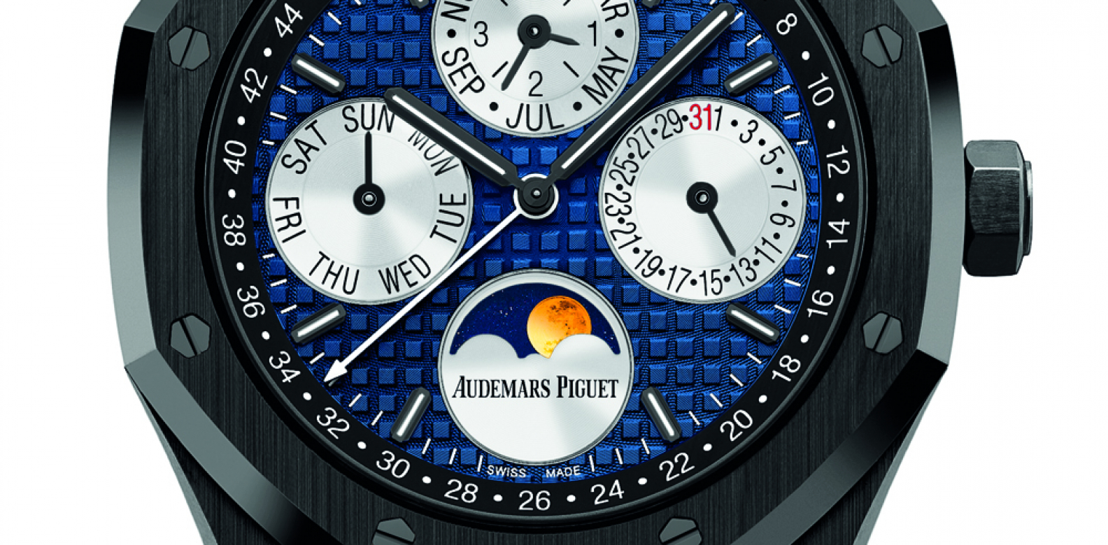Based on the Royal Oak launched by Audemars Piguet at this year's SIHH, the Only Watch version has a beautiful blue Mega Tapisserie dial to complement the highly finished ceramic case and bracelet. It also features a ceramic case back not found on the original model. (Photo: Courtesy of Audemars Piguet)