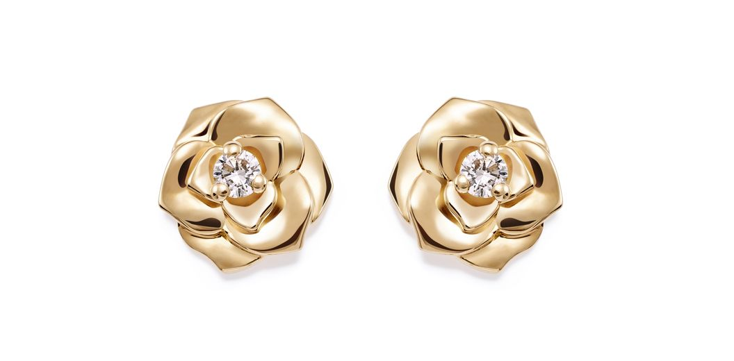 Piaget rose earrings in yellow gold and diamonds