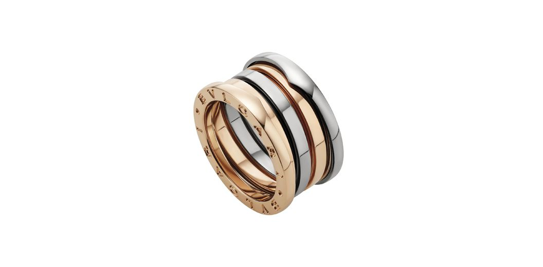 Bulgari BZero rings in white and rose gold