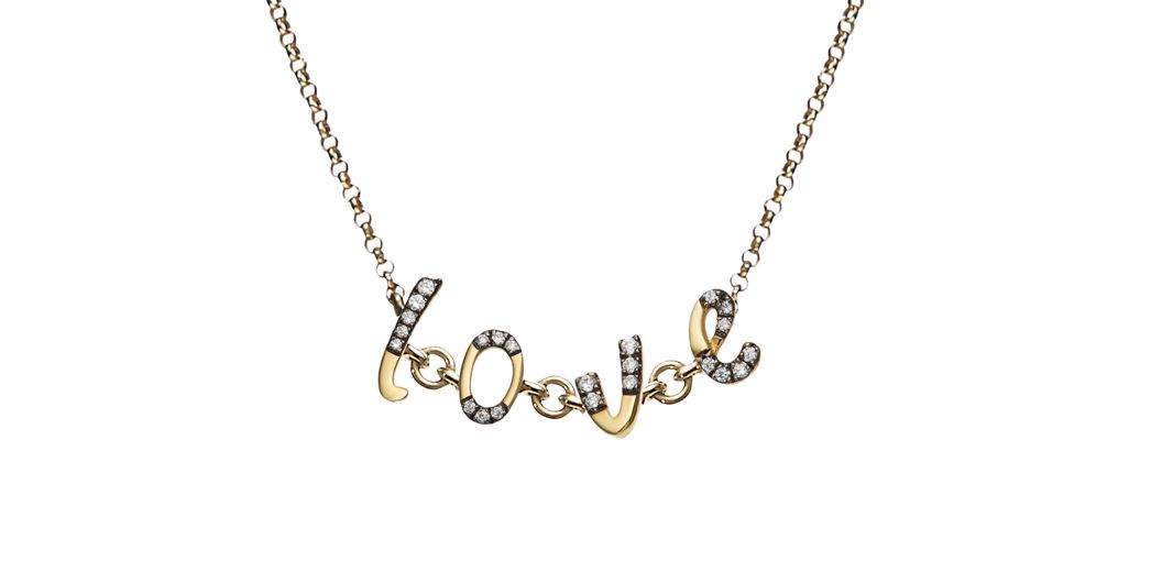 Annoushka bespoke chain letters necklace in gold set with diamonds