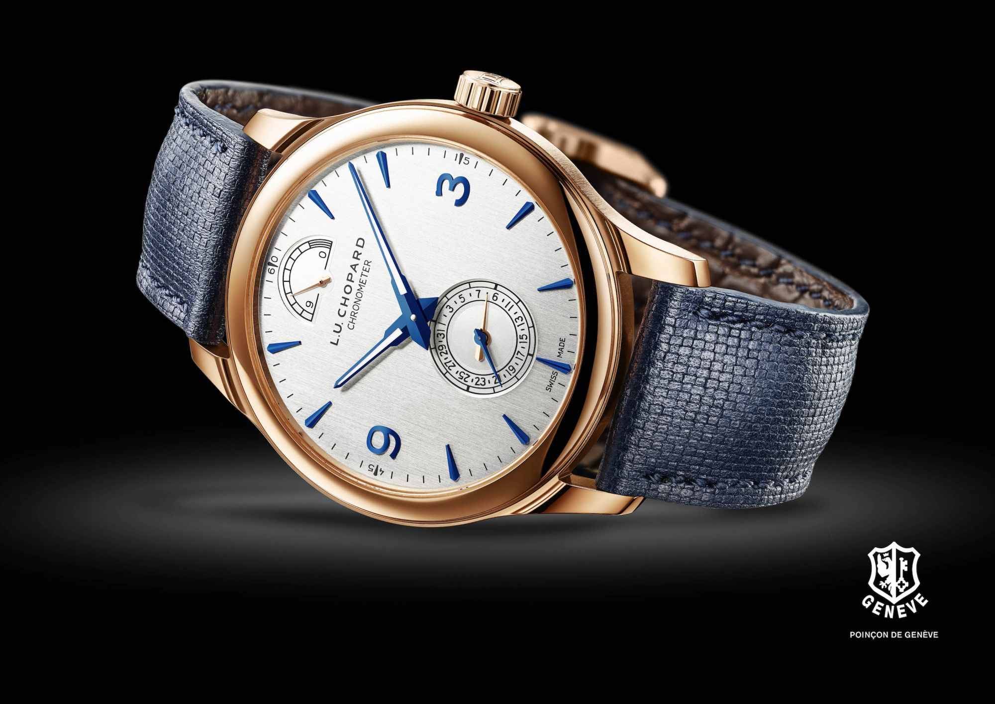 The Chopard L.U.C Quattro watch comes with a sporty blue calfskin leather strap. (Photo: Courtesy of Chopard)