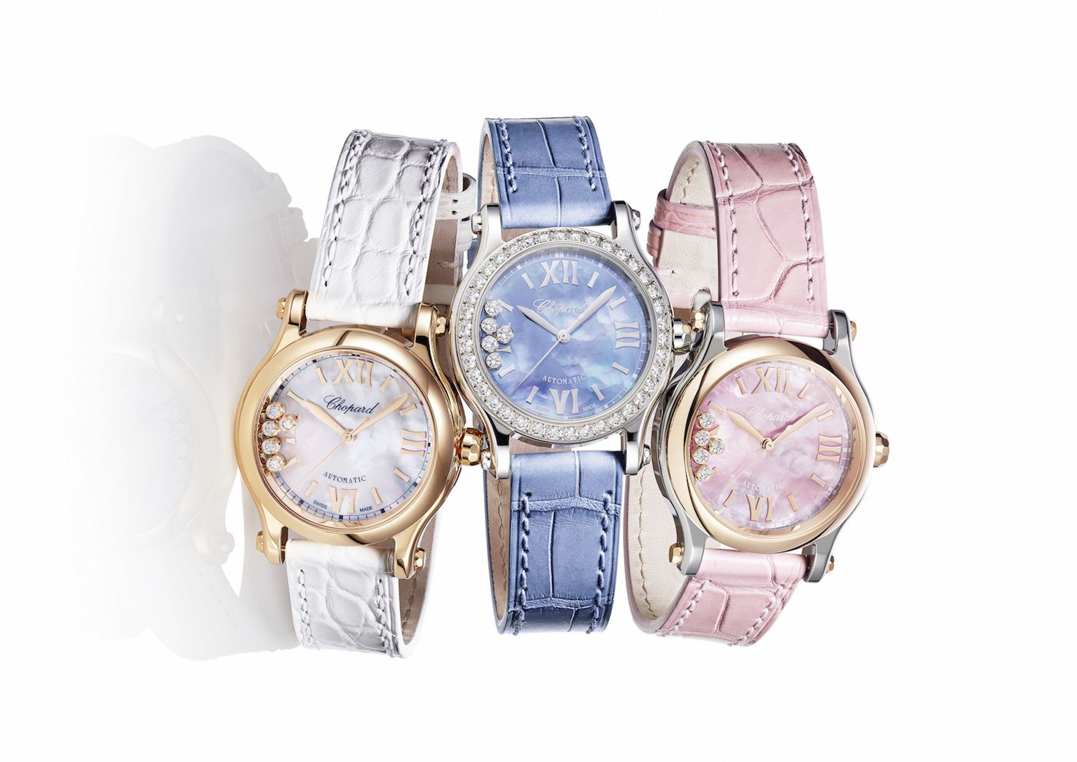 The new line of Happy Sport watches comes with mother-of-pearl dials with pastel-coloured shades. (Photo: Courtesy of Chopard)