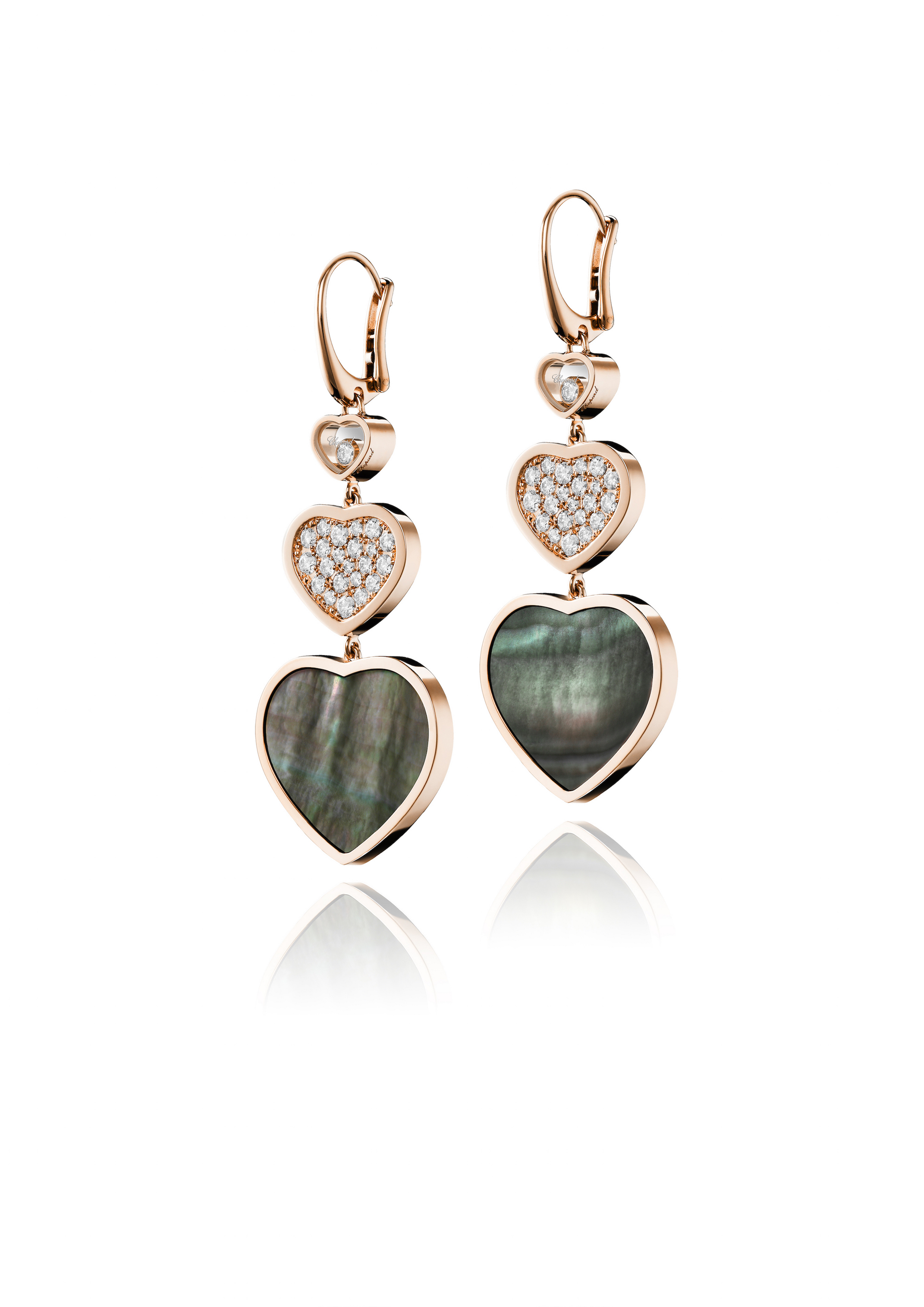 Happy Hearts earrings in rose gold set with black Tahiitian mother-of-pearl and diamonds. (Photo: Courtesy of Chopard)