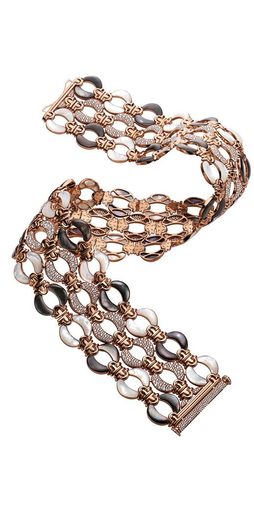 Parentesi Hamata bracelet in pink gold with white and grey mother-of-pearl and diamonds, by Bulgari