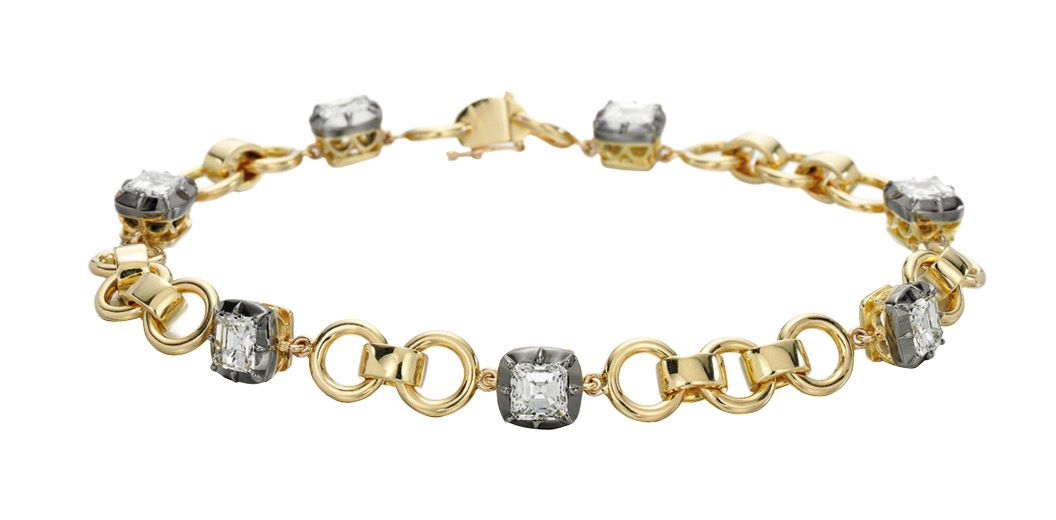 Asscher-cut diamond bracelet in yellow gold, by Jessica McCormack
