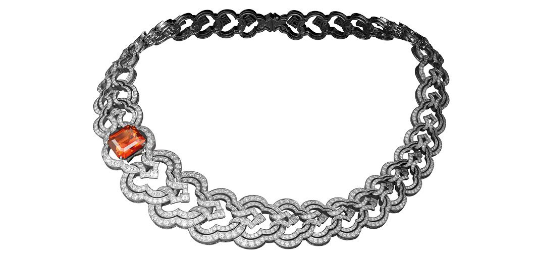 Conquêtes necklace in white gold set with diamonds and a mandarin garnet, by Louis Vuitton