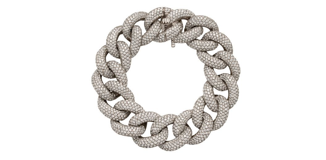 Bracelet in white gold set with diamonds, by Stefere
