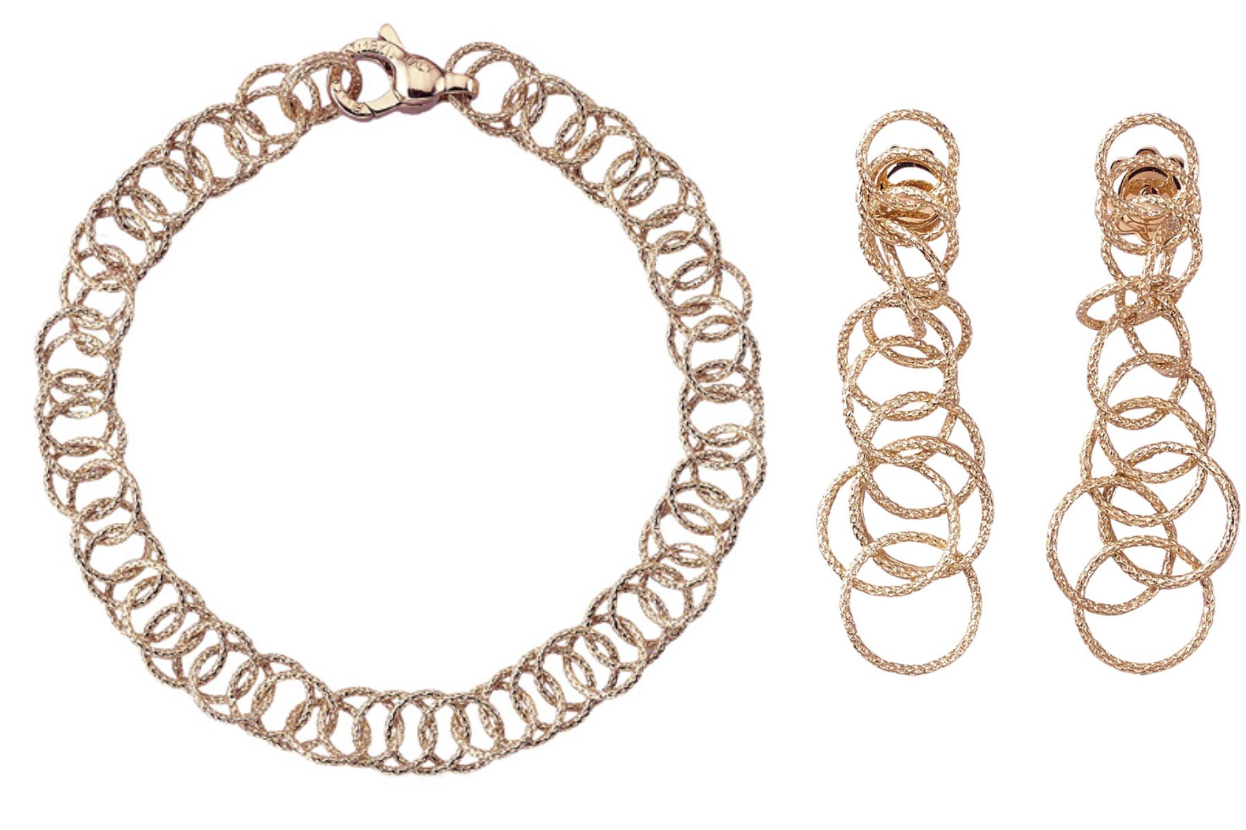 Hawaii necklace and earrings in pink gold, by Buccellati