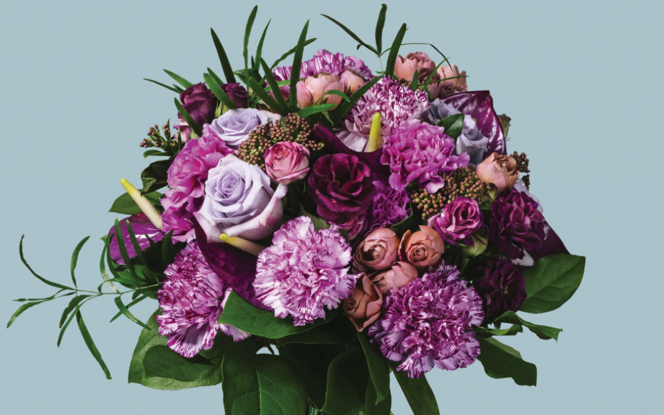 Cerise with Dutch carnations, Ocean Song roses, anthurium and Japanese spray roses (available at Flannel Flowers)