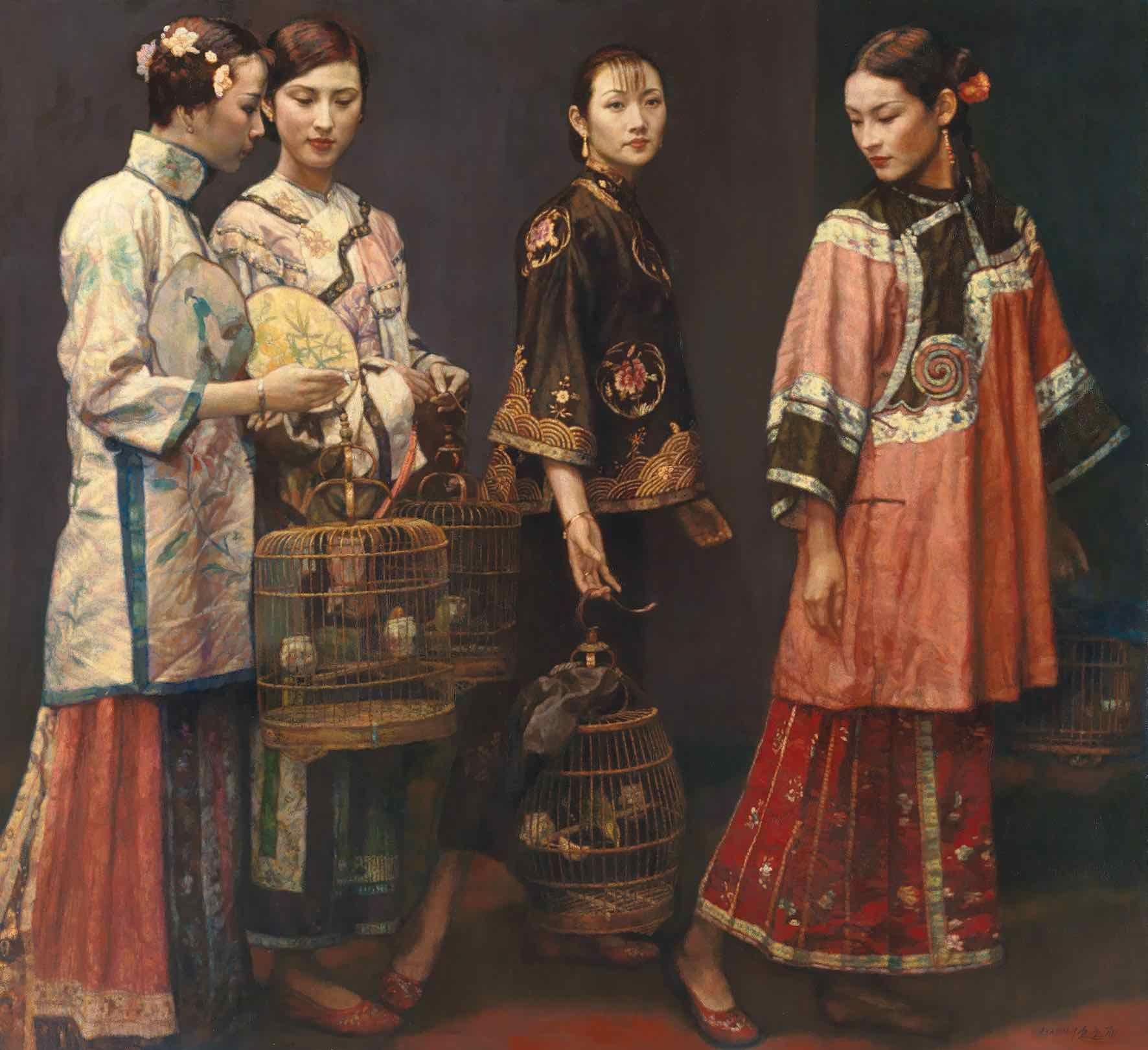 "Chen Yifei was a renowned Chinese painter in the 20th century. This work, ""Beauties on Promenade"" from 1997, is characteristic of his classical style. The estimate is available upon request."