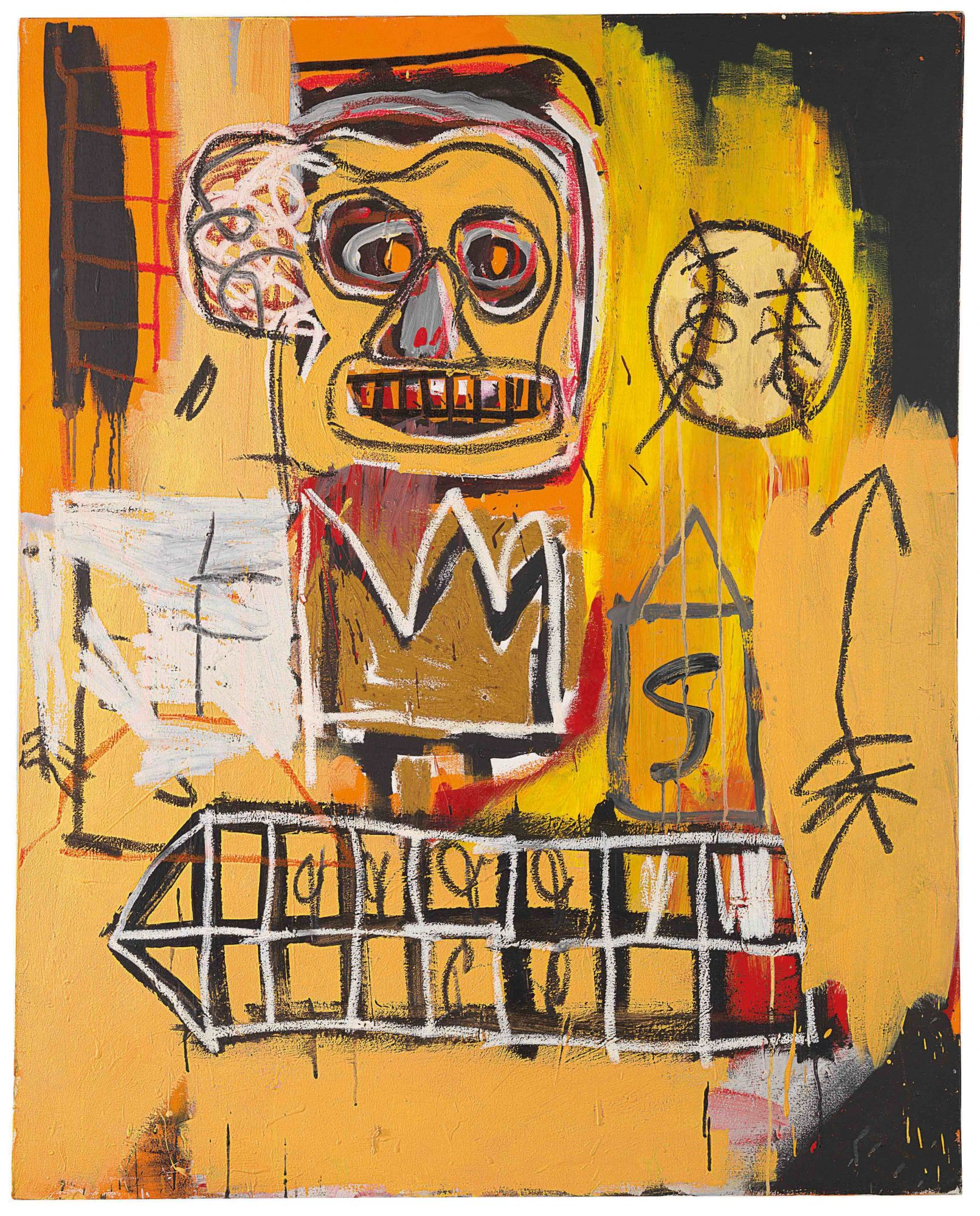 """Untitled (Orange Sports Figure)"" by Jean-Michel Basquiat is estimated to sell for HK$62 million—94 million. The crowd will be keeping their eyes peeled for Japanese collector Yusaku Maezawa, who set the auction record for a Basquiat painting when he bought one for US$110 million in 2017."