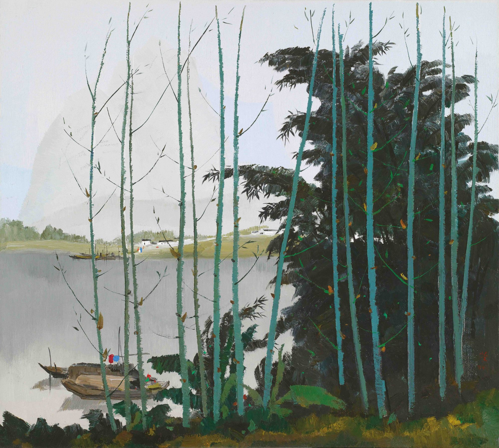"Wu Guangzhong is often cited as the founder of modern Chinese painting. This work, ""New Bamboos Alongside Li River"", is estimated t sell for HK$18 million—28 million."