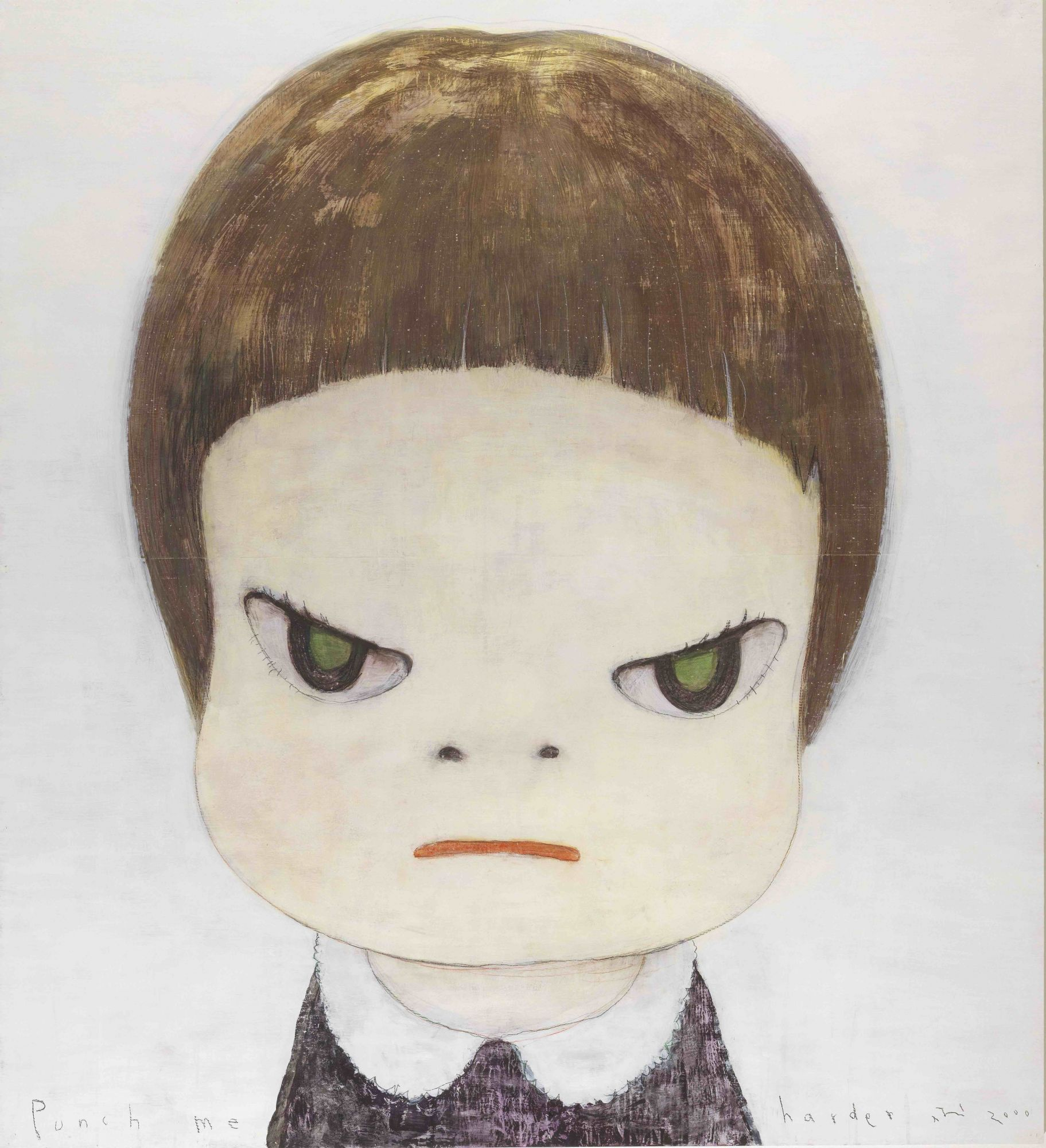 "Japanese artist Yoshitomo Nara has won fans around the world with his manga-inspired drawings and paintings of sinister children. This painting, called ""Punch Me Harder"", is estimated to sell for HK$10 million—15 million."