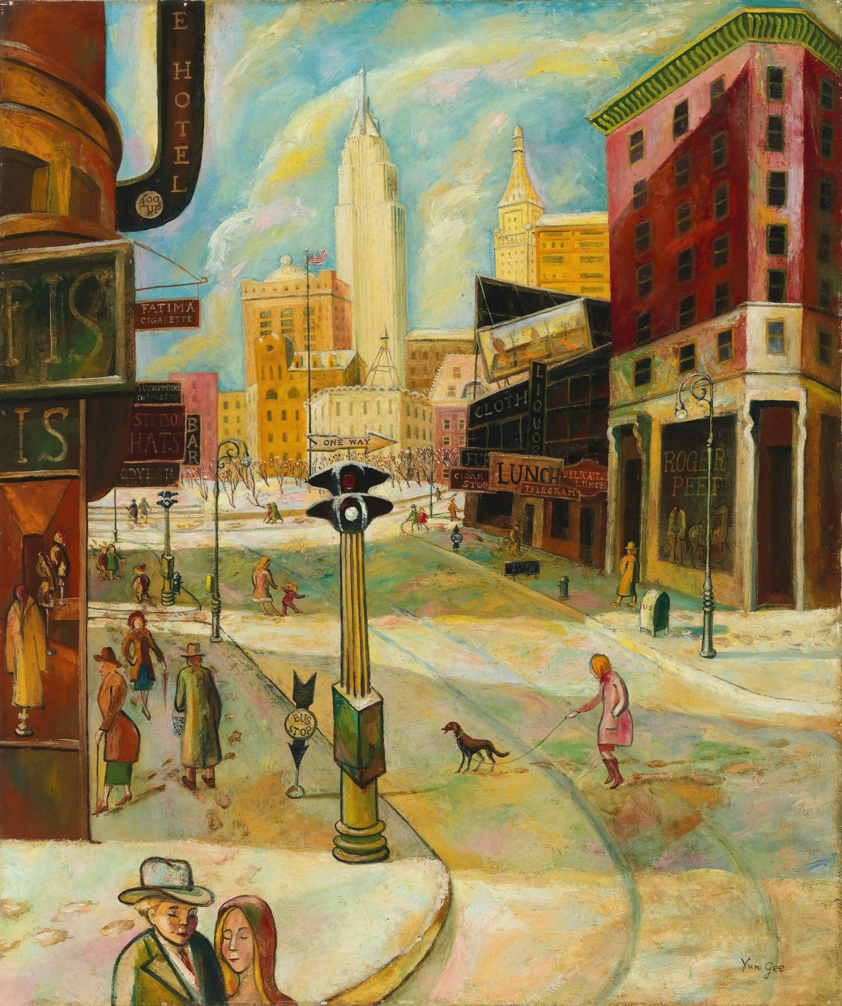"Chinese artist Yun Gee, who died in 1963, was deeply inspired by his years living in the USA. ""Old Broadway in Winter"" is estimated to sell for HHK$30 million—40 million."