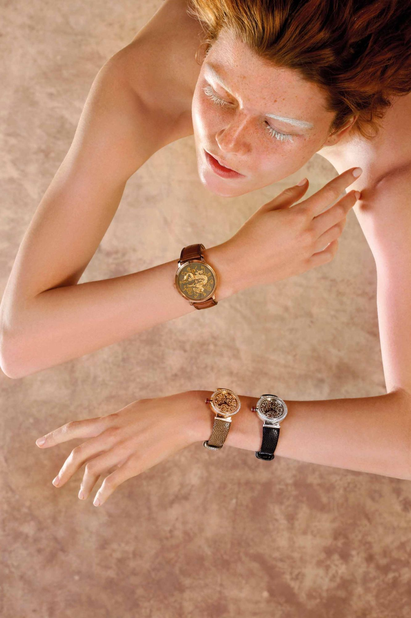 From left: Dragon watch by Blancpain | Lucea Mosaique watches in pink gold and white gold by Bulgari