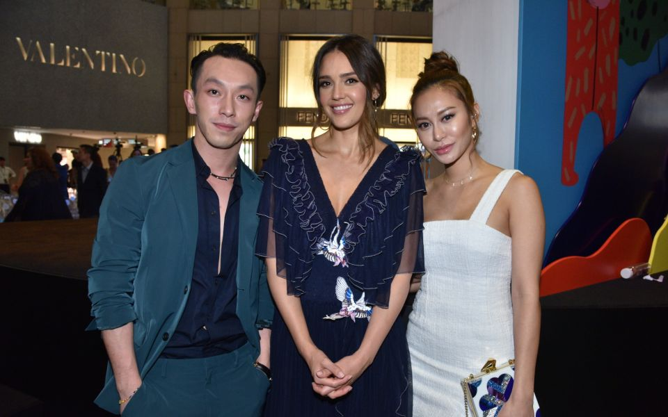 Harris Chan, Jessica Alba and Eleanor Lam