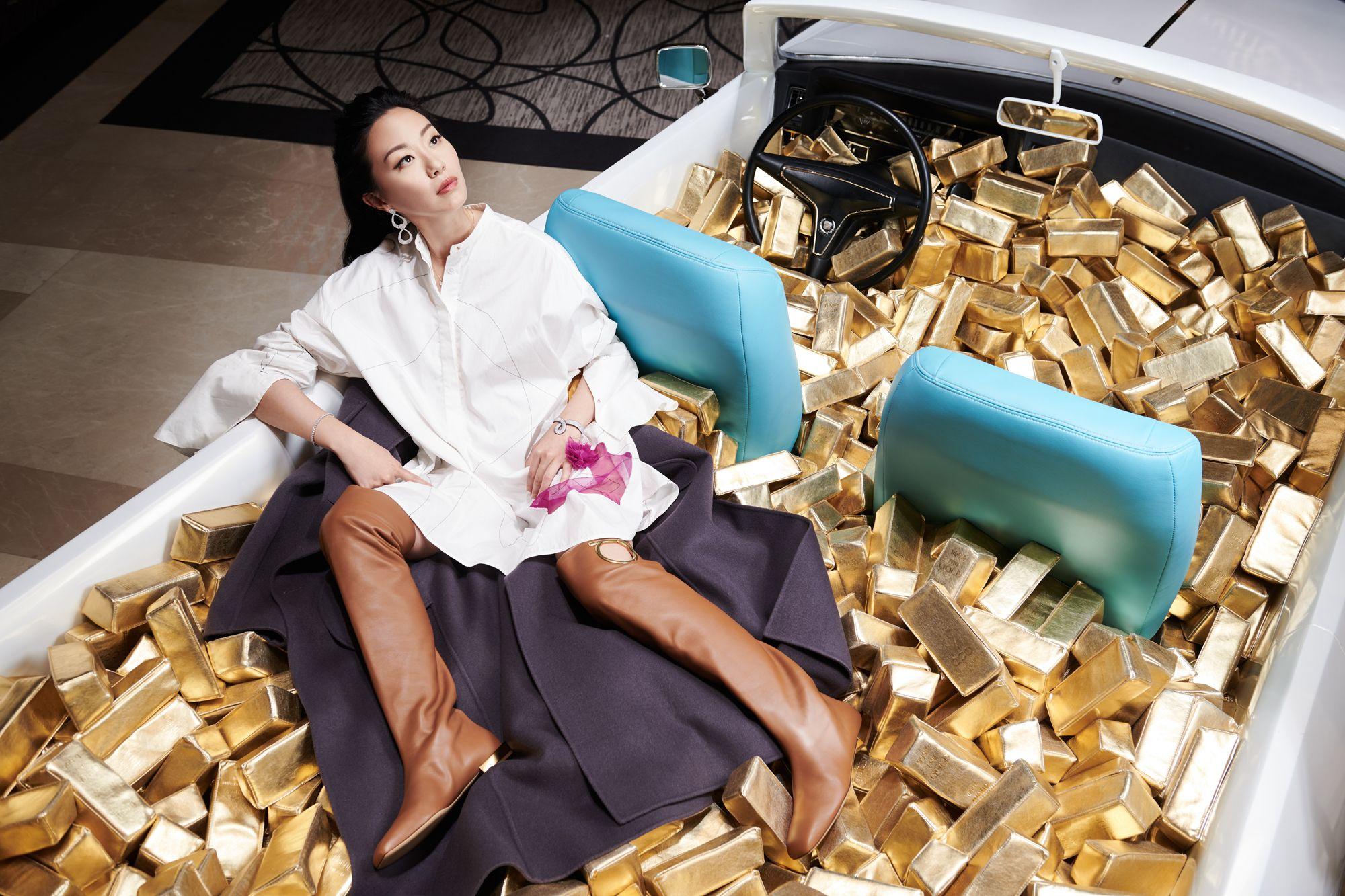 Ruth Chao at the Cadillac Pool, Art of the City, City of Dreams (Photo: Moses Ng/Hong Kong Tatler)