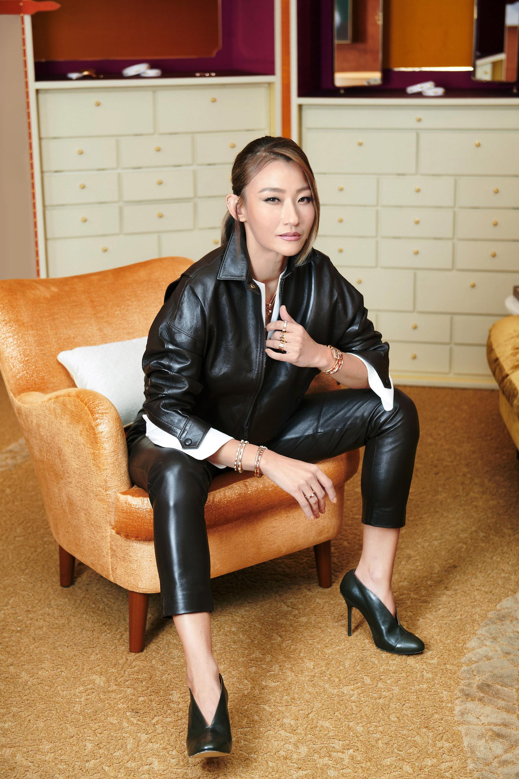 Esther Sham in the VIP area, Bulgari, Landmark Chater (Photo: Moses Ng/Hong Kong Tatler)