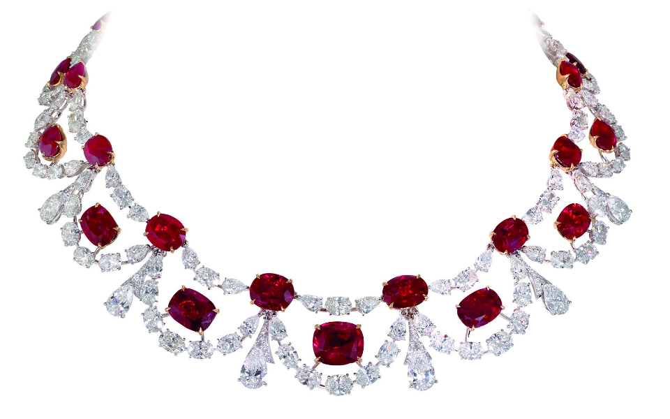 Platinum necklace set with Burmese rubies and diamonds
