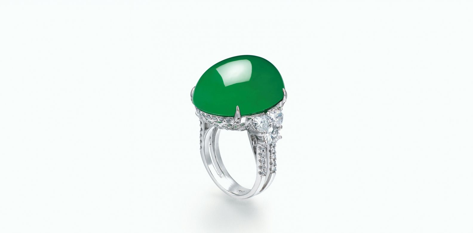 Jadeite cabochon and diamond ring. (Photo: Courtesy of Christie's)