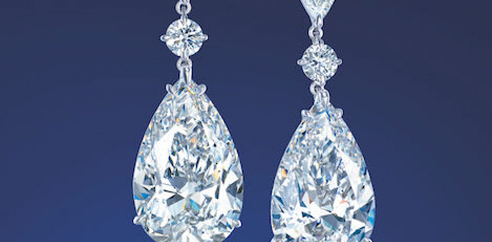 Pear-shaped diamond ear pendants. (Photo: Courtesy of Christie's)