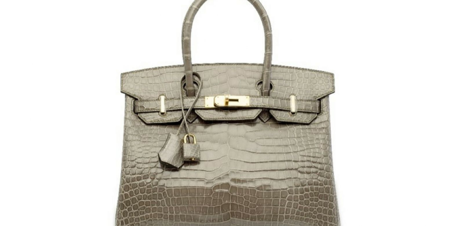 Gris tourterelle porosus crocodile Birkin 30 with gold hardware, Hermès, 2017. (Photo: Courtesy of Christie's)