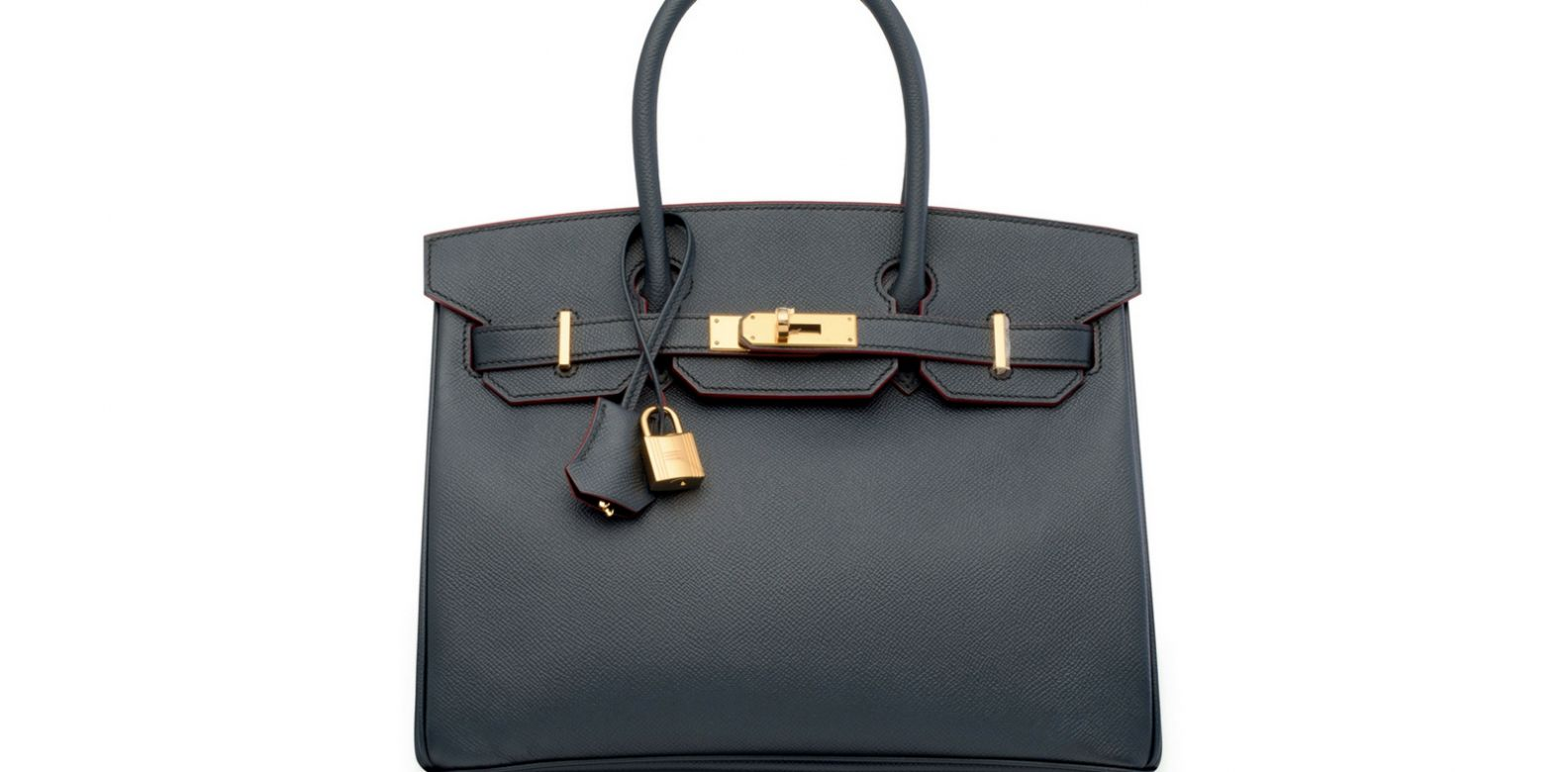 Limited edition blue indigo & rouge H contour Birkin 30 with gold hardware, Hermès, 2016. (Photo: Courtesy of Christie's)