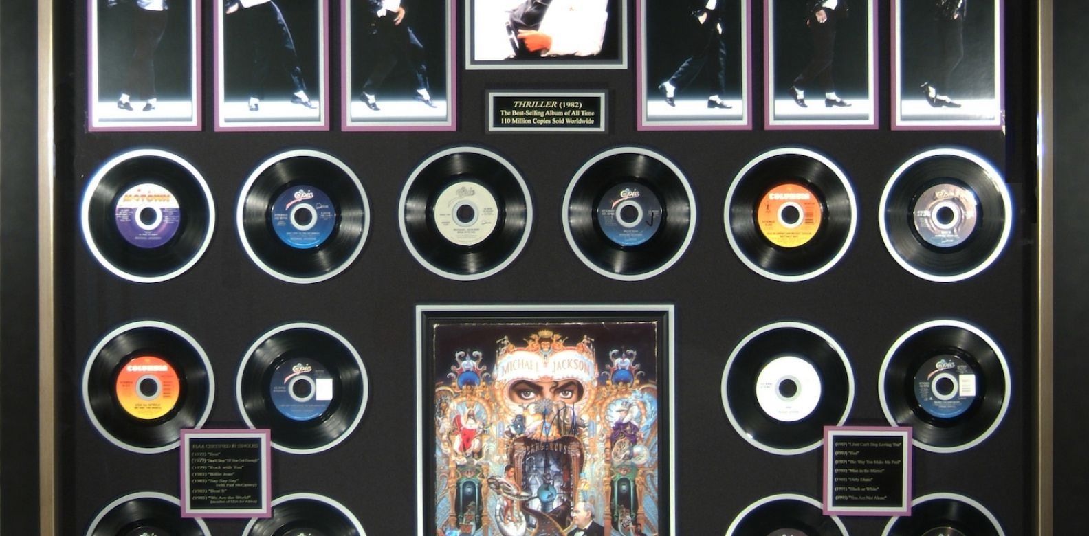 Michael Jackson - #1 Record Singles Collection Rare Autographed Display (Photo: Courtesy of Areteos Historical Concept)