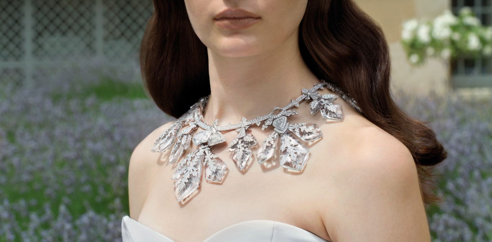 Flocon Impérial transformable necklace in white gold set with diamonds and rock crystal, by Boucheron; top by Lanvin