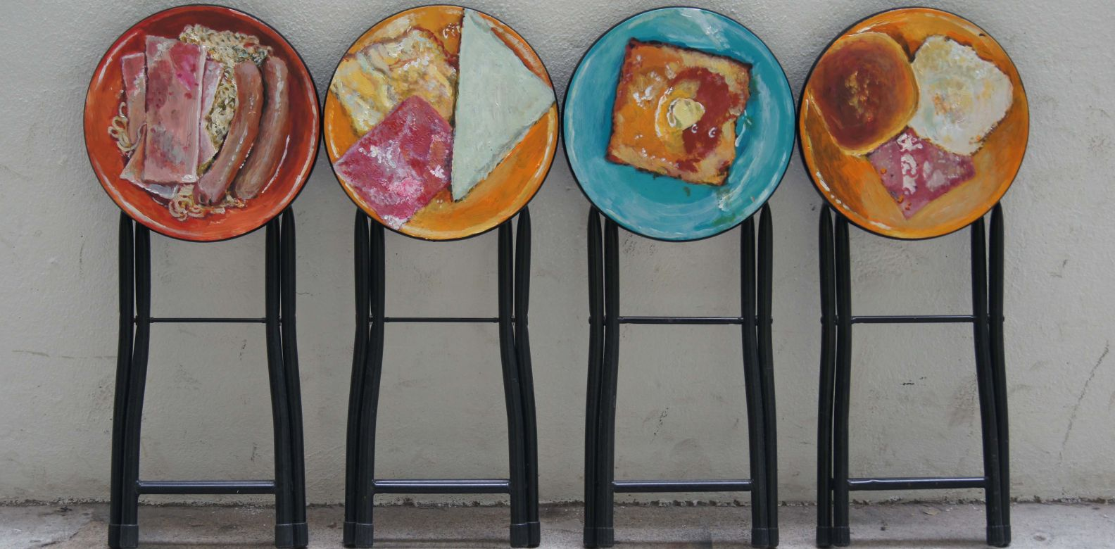 Breakfast (2016) by Douglas Young: Doulgas Young, the founder of G.O.D., regularly transforms seemingly mundane objects into thought-provoking works of art and design. With these painted stools, Young encourages us to appreciate the furniture we use everyday and the food that makes Hong Kong's cuisine unique. (Image: Courtesy of the artist)
