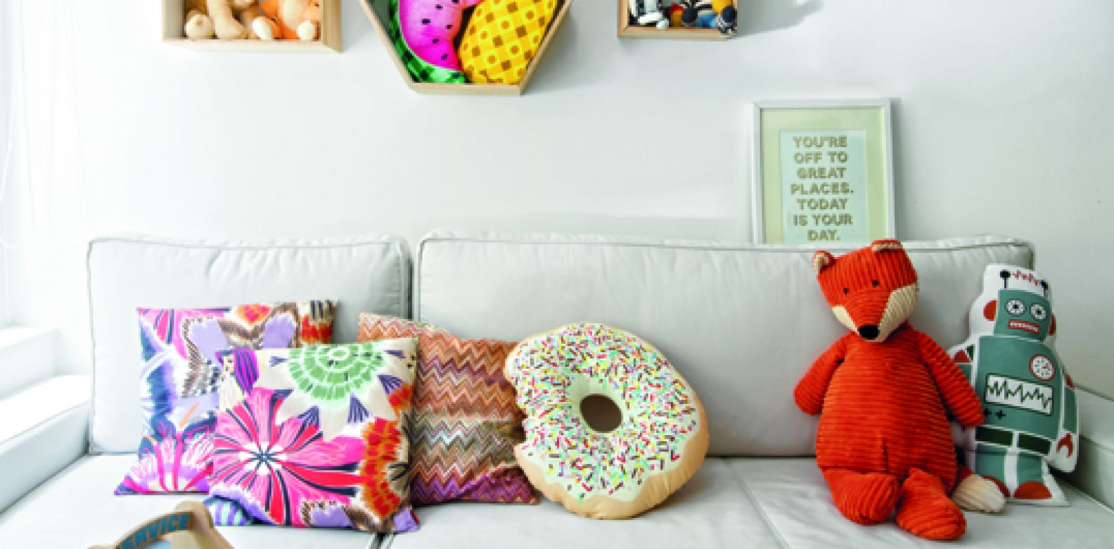 The room belonging to Shana's son Axel is a veritable playground of the imagination, with fun fabrics by Sack Me! and even a blackboard wall for drawing on.