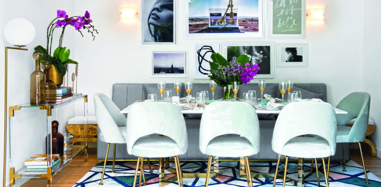 Shana designed her own velour-covered 'Lily' dining chairs in a delicate shade of duck-egg blue with stately brass legs.