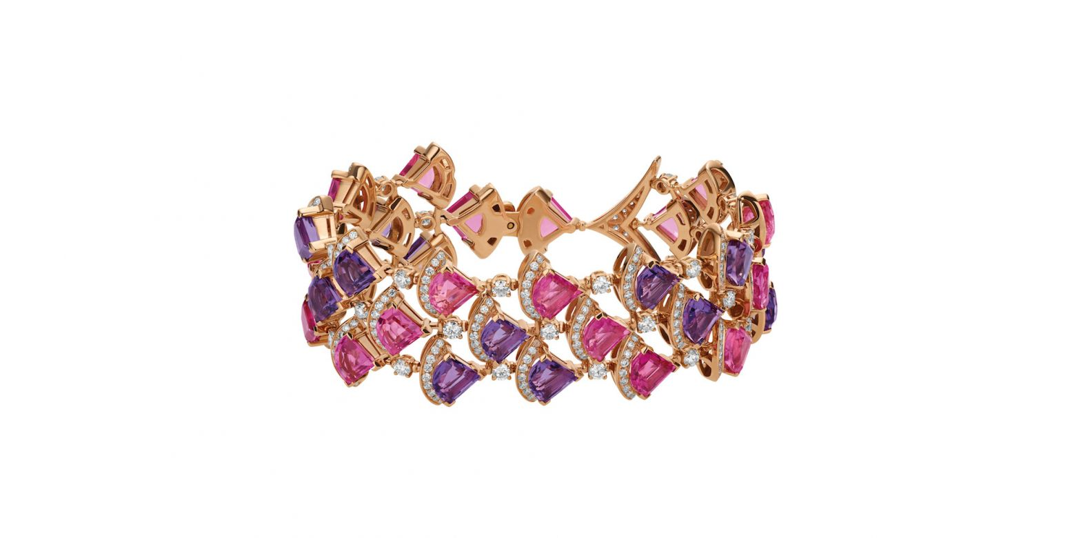 Bracelet in pink gold with amethyst, rubellite and diamonds (4.17cts)