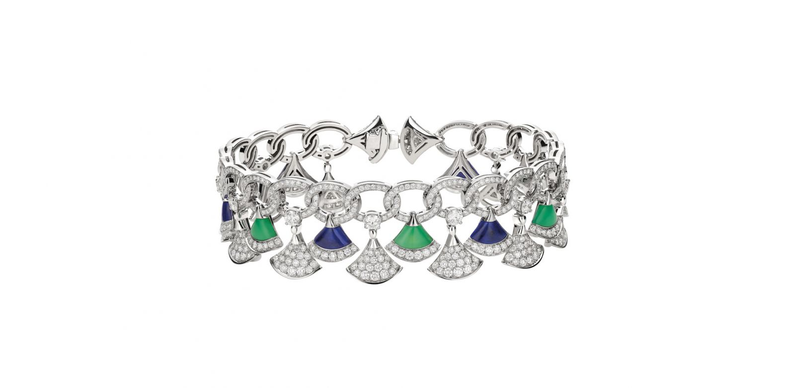 Bracelet in white gold with chrysoprase and lapis lazuli and diamonds (4.97cts)
