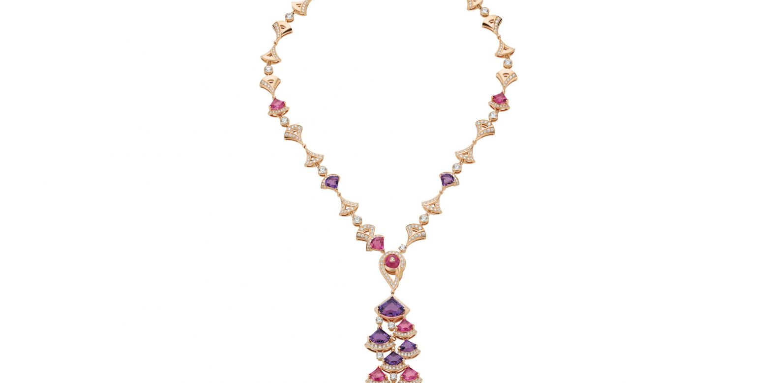 Necklace in pink gold amethyst, rubellite and diamonds (5.20cts)