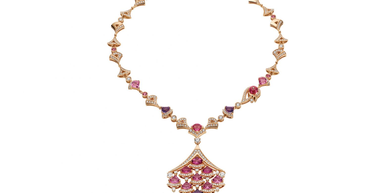 Necklace in pink gold with amethyst, pink tourmaline, rubellite and diamonds (6.75cts)