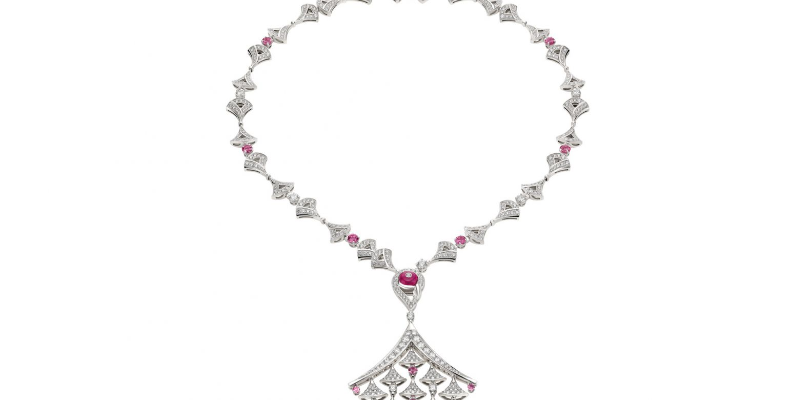 Necklace in white gold with pink tourmaline, rubellite and diamonds (7.06cts)