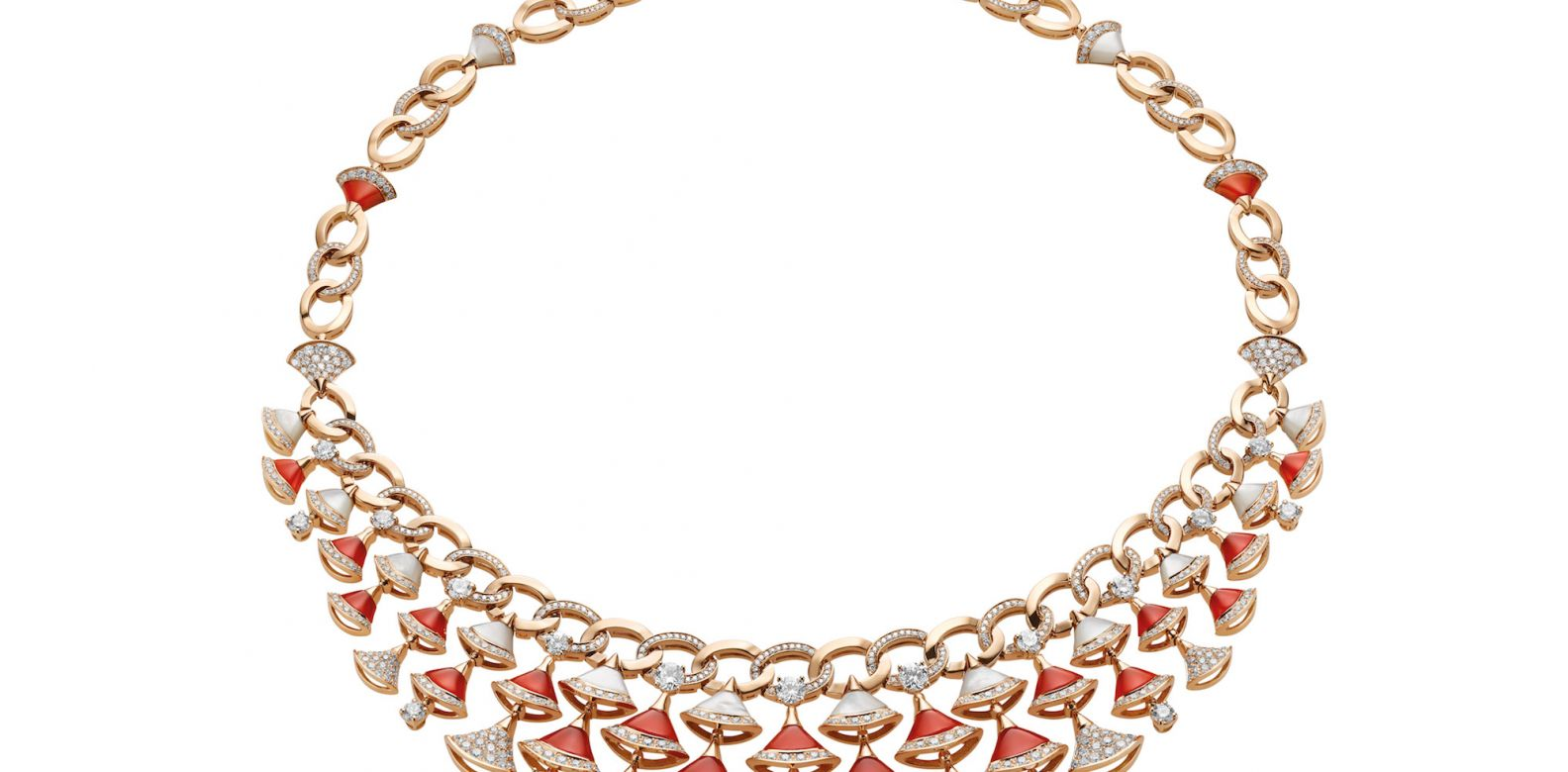 Necklace in pink gold with carnelian, mother-of-pearl and diamonds (8.87cts)