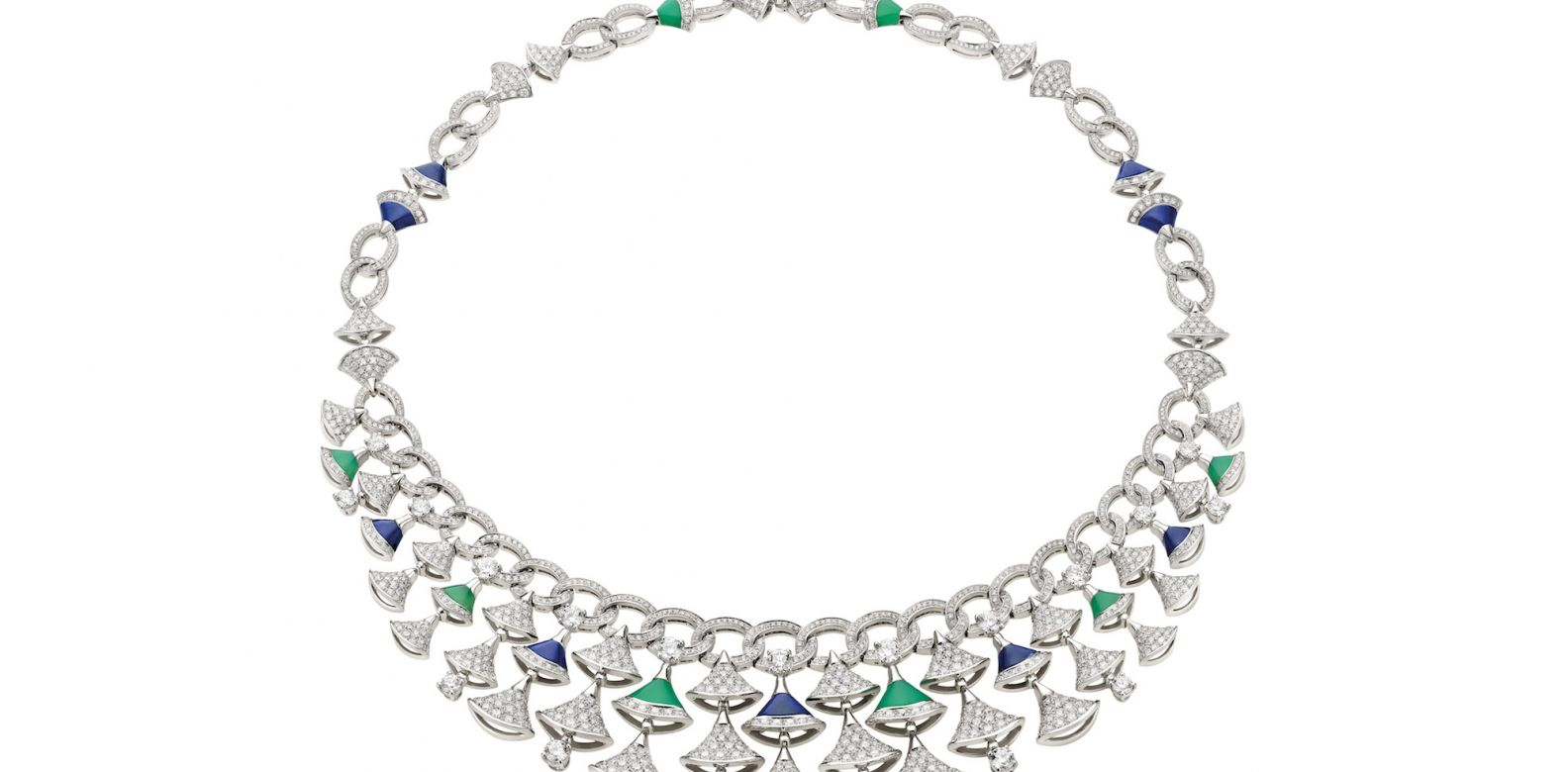 Necklace in white gold with chrysoprase and lapis lazuli and diamonds (10.12cts)