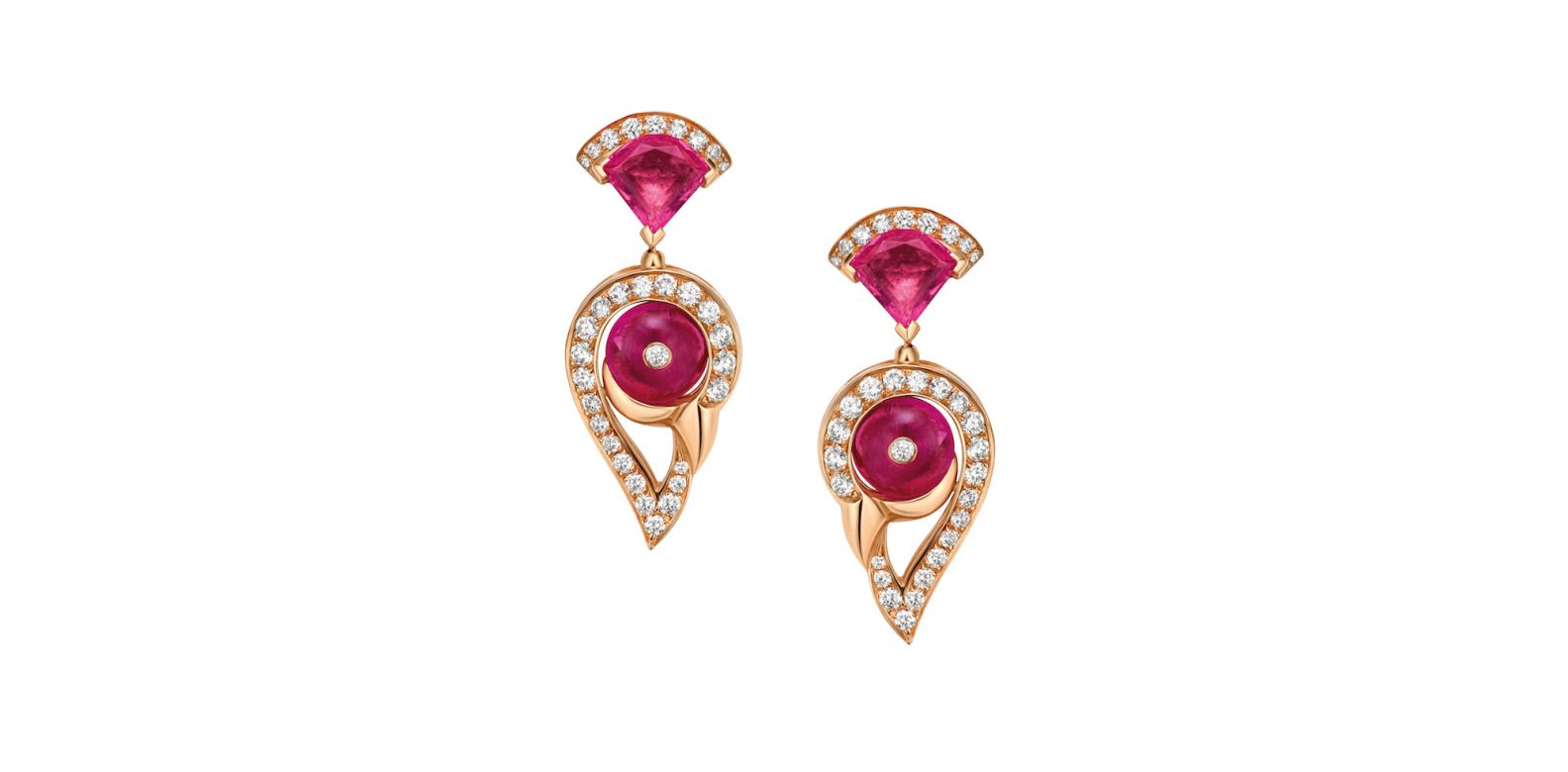 Earrings in pink gold with rubellite and diamonds (0.61ct)