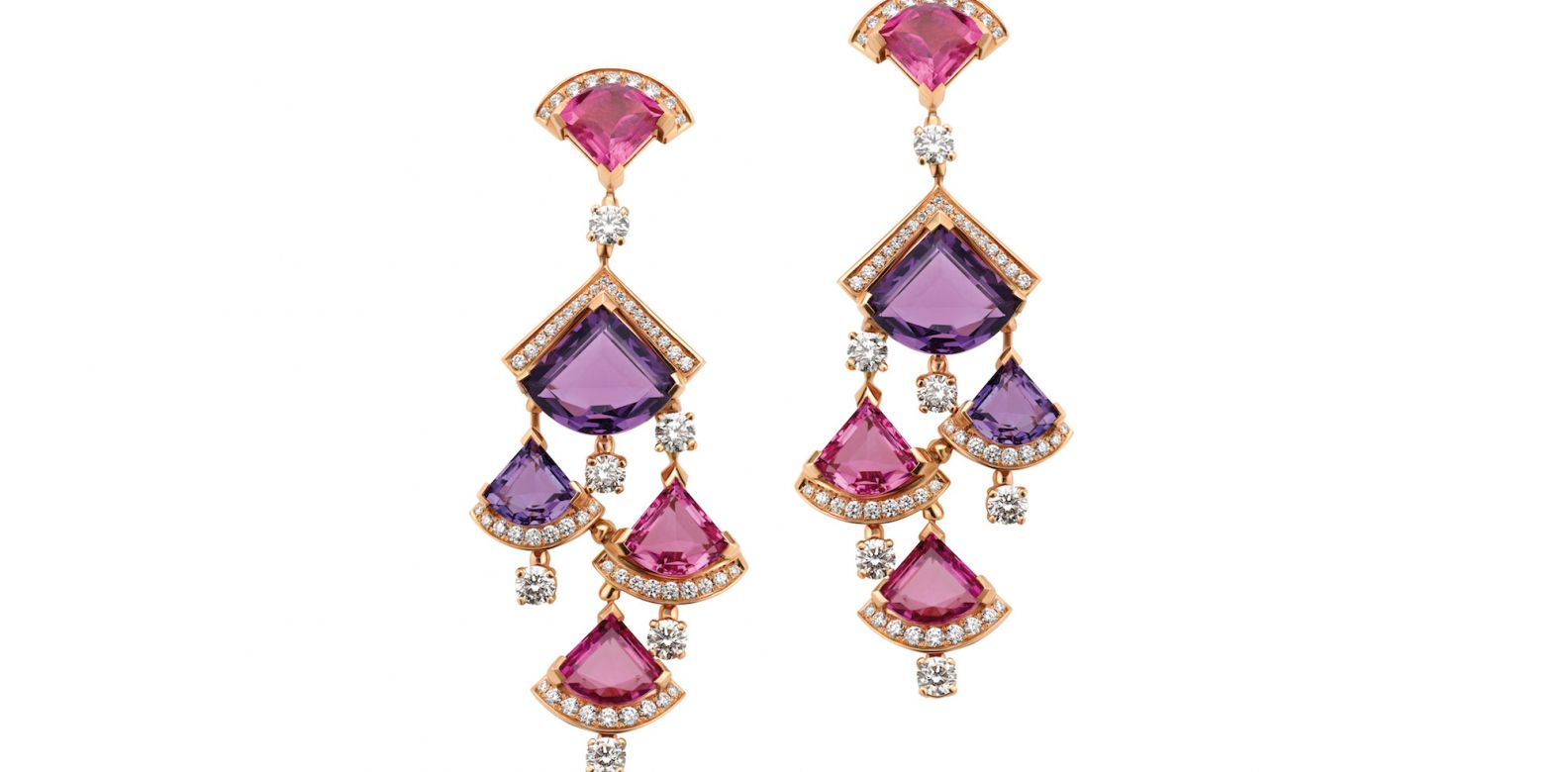 Earrings in pink gold with amethyst, rubellite and diamonds (1.85cts)