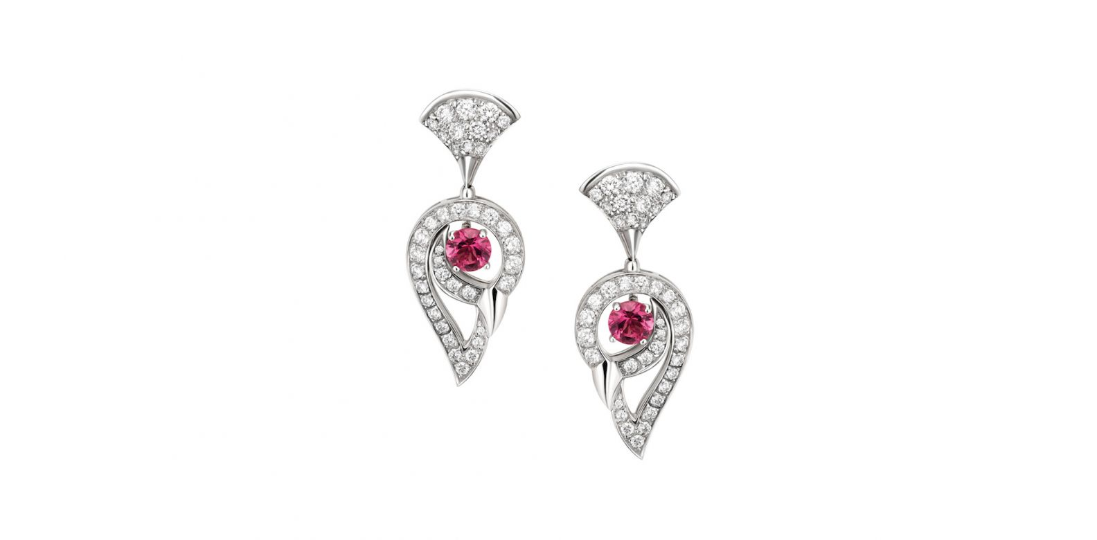 Earrings in white gold with rubellite and diamonds (0.98ct)