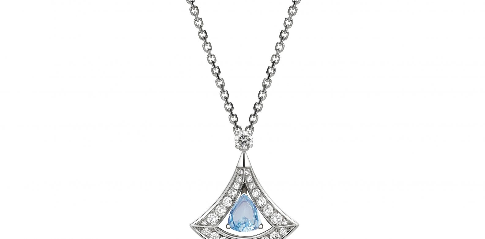 Necklace in white gold with aquamarine and diamonds (1.16cts)